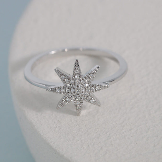 Superstar Sterling Silver and Diamond Ring