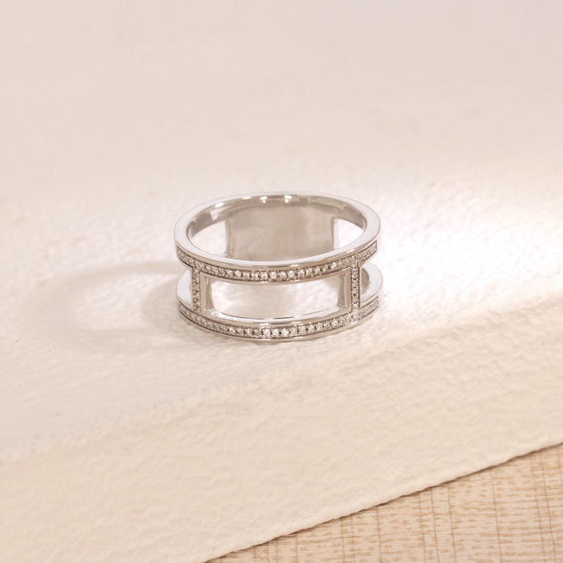 Take It Offline Sterling Silver and Diamond Ring