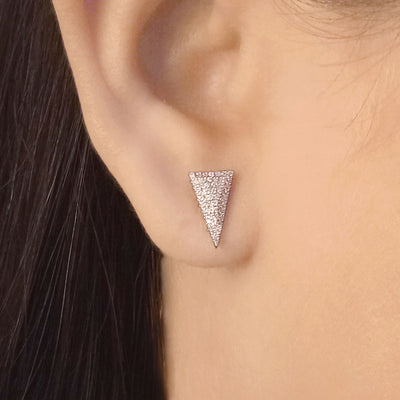 Wearing Take The Plunge Sterling Silver and Diamond Earrings