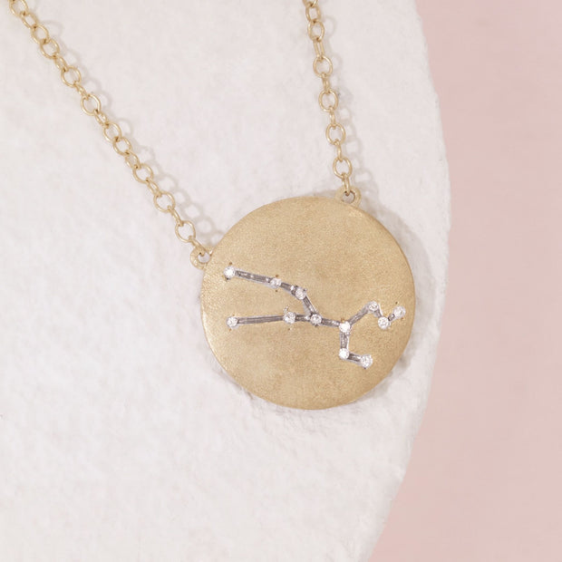 Taurus Zodiac Necklace in Gold with Diamonds, alt view