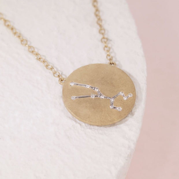 Taurus Zodiac Necklace in Gold with Diamonds