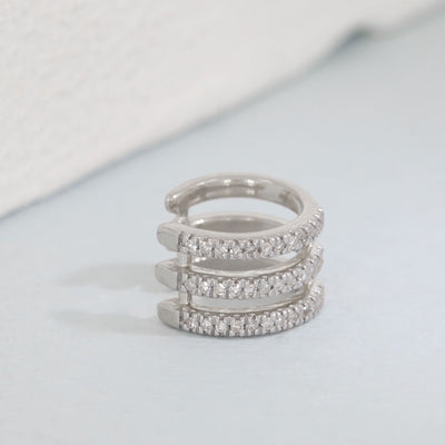 Three Nights in Paradise Sterling Silver and Diamond Cuff Earring
