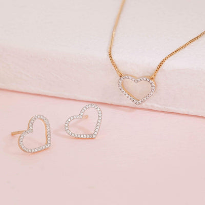 True Love Always Gold Earrings and Diamond Necklace Gift Set