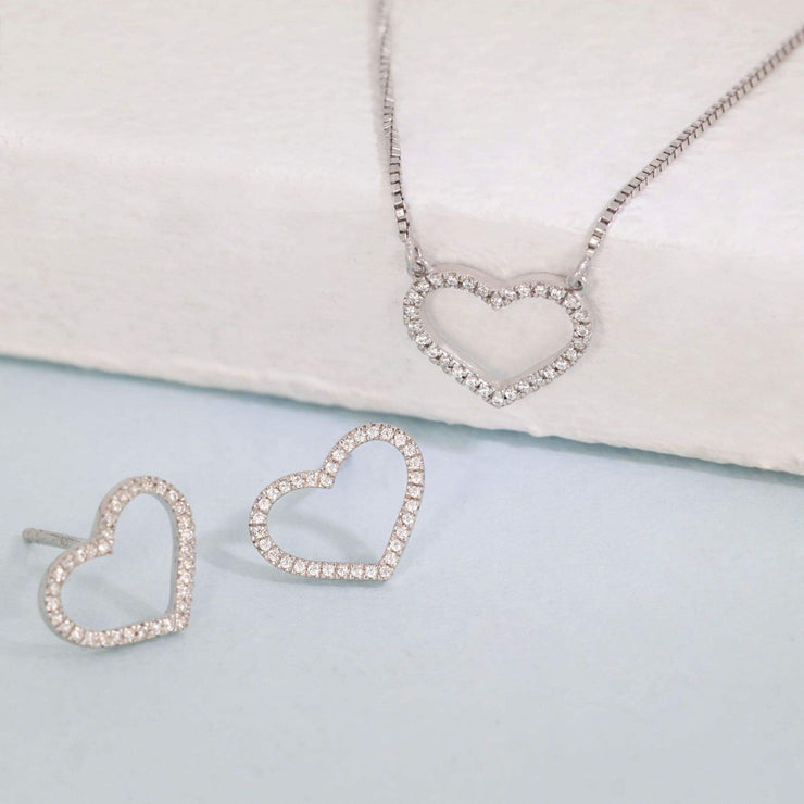 True Love Always Sterling Silver Earrings and Diamond Necklace Gift Set