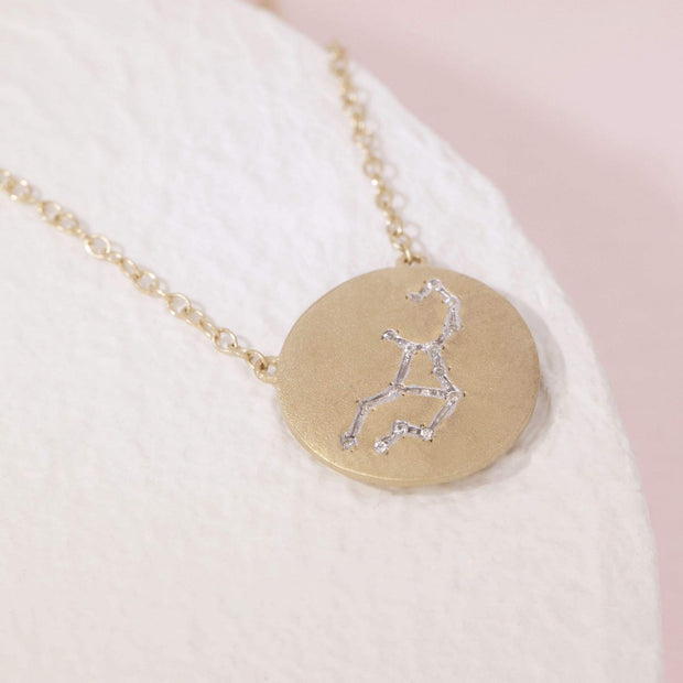 Virgo Zodiac Necklace in Gold with Diamonds, alt view