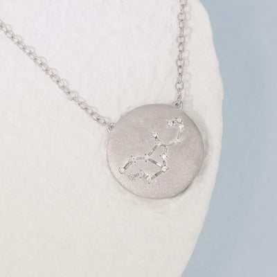 Virgo Zodiac Necklace in Sterling Silver with Diamonds