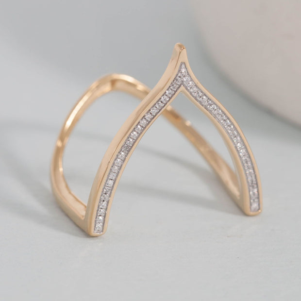 Wishbone Gold and Diamond Ring
