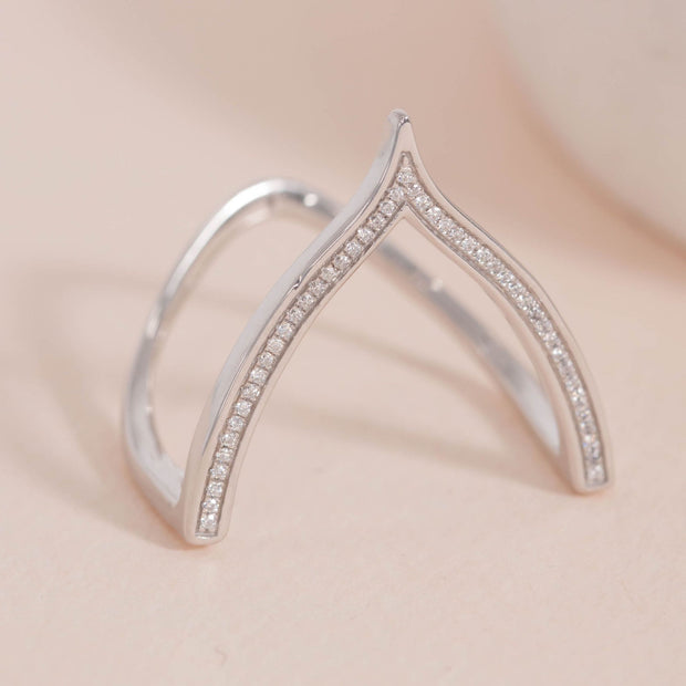 Wishbone Sterling Silver and Diamond Ring