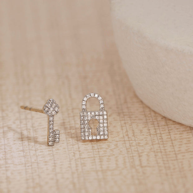 You Hold The Key To My Heart Gold and Diamond Stud Earrings