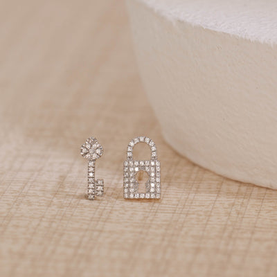 You Hold The Key To My Heart Gold and Diamond Stud Earrings, alt view