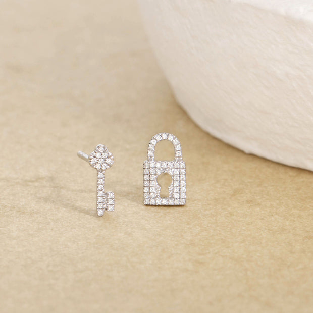 You Hold The Key To My Heart Sterling SIlver and Diamond Stud Earrings