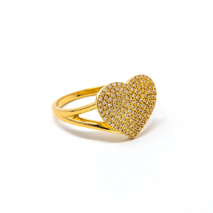 Devoted Heart Ring in Gold, side view