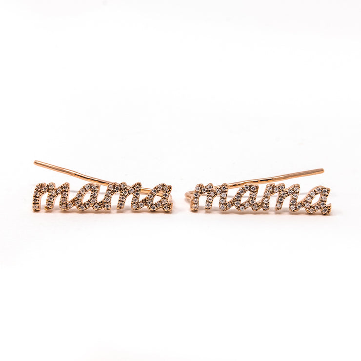 Love You Mama Climber Earrings in Rose Gold