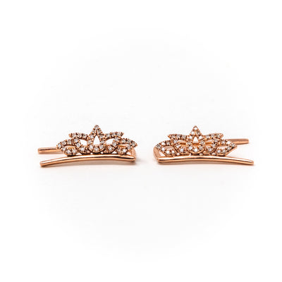 Blooming Lotus Climber Earrings in Rose Gold