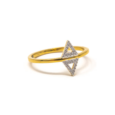 Studded Symmetry Ring in Gold