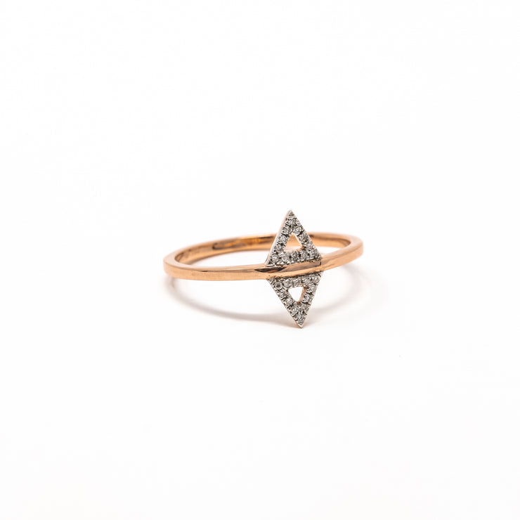 Studded Symmetry Ring in Rose Gold