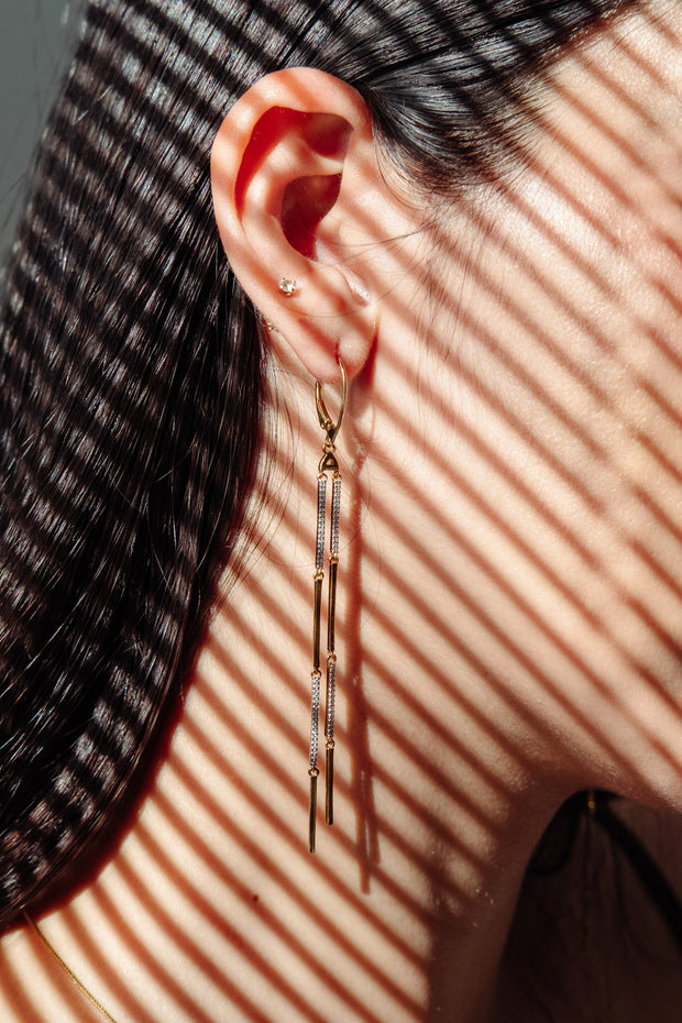 Wearing Diamonds and Stripes Earrings in Gold