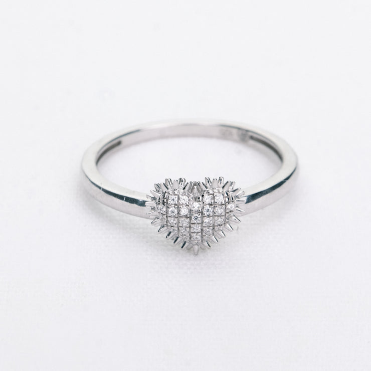 Spiked Heart Ring in Sterling Silver