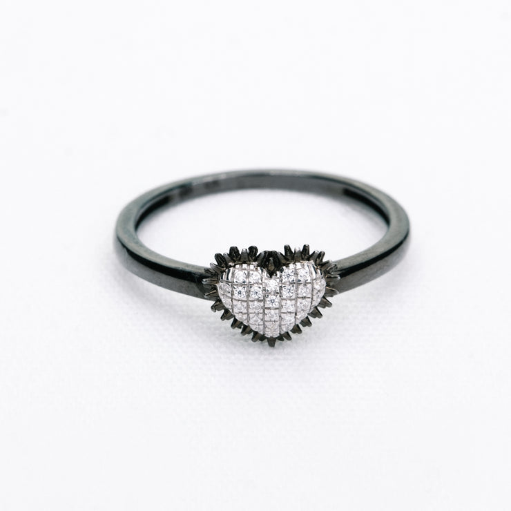 Spiked Heart Ring in Black Rhodium