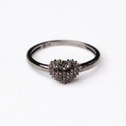 Spiked Heart Ring in Black Rhodium with Black Diamonds