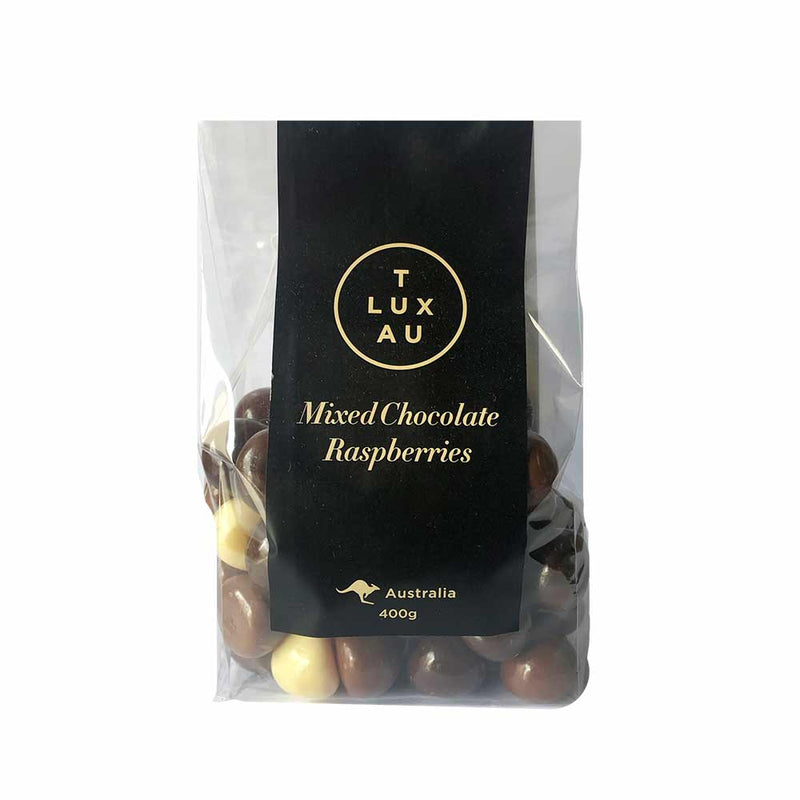 T Lux Au Mixed Choc Raspberries 400g