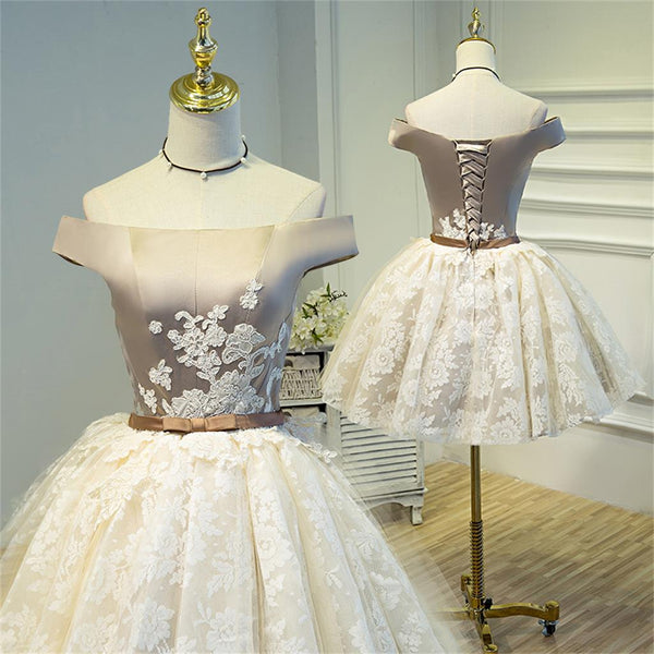 2017 Off shoulder Lace Fashion Custom Lace Up Back Popular Homecoming Dresses, Short Prom Dress, BD0213