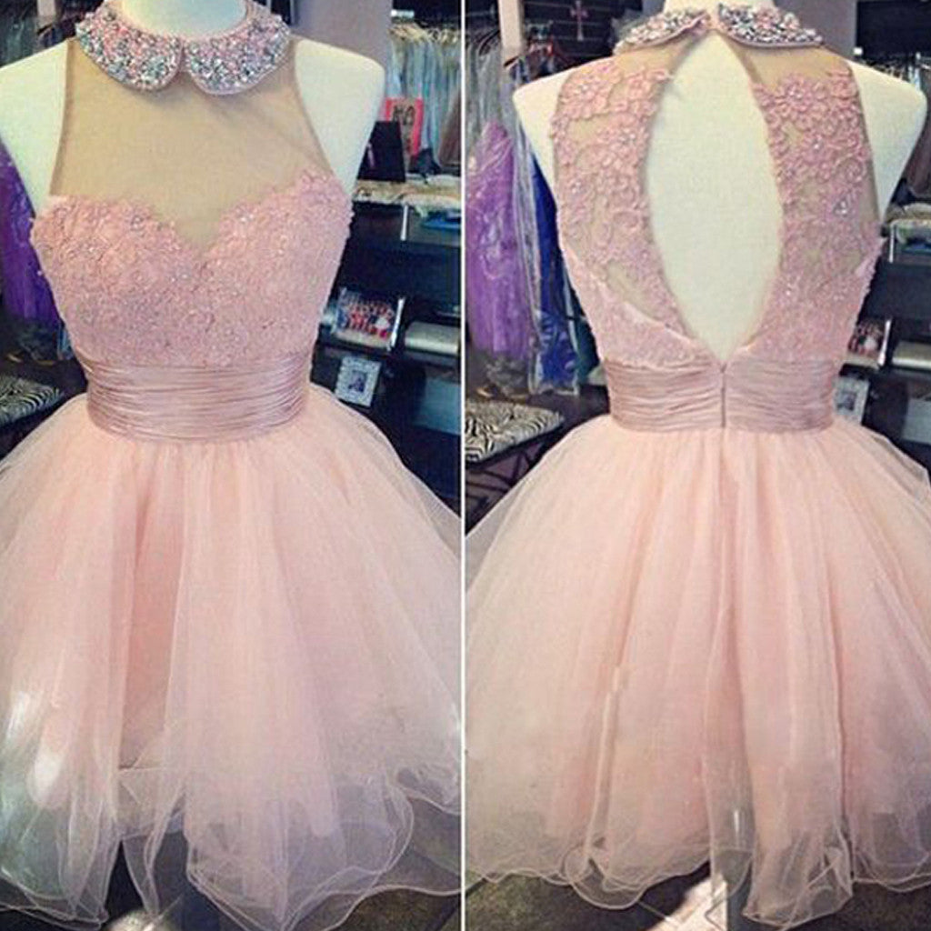 Pink high neck lace off shoulder high neck freshman homecoming prom ...