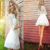 popular long sleeve Lace see through cute homecoming prom dress,BD0001