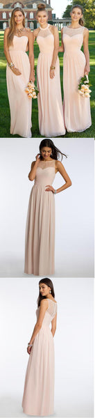 2019 Chiffon Mismatched  Blush Pink Modern Formal Floor-Length Cheap Bridesmaid Dresses, WG103