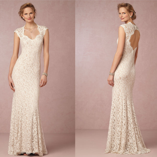 Elegant Vantage Cap Sleeve Mermaid Style Open Back Lace Wedding Party Dresses, WD0103