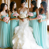 Simple Classic High Waist Line Popular Blue Cheap Long Wedding Party Bridesmaid Dresses, WG107