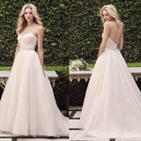 Pale Pink Sweetheart Rhinestone Long A-line Sparkle Princess Wedding Dresses, WD0113