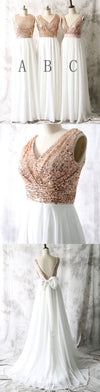 2018 Mismatched Different Styles Sequin Top White Chiffon  On Sale Long Bridesmaid Dresses , WG17