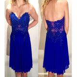 Royal blue strapless see through lace sexy simple cheap homecoming prom gown dress,BD00131