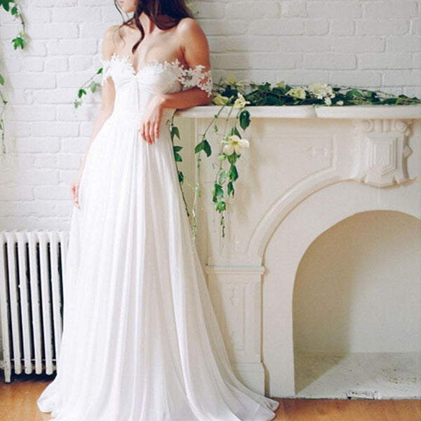 2017 Popular Off Shoulder Long A-line White Chiffon Sexy Lace Wedding Dresses, WD0138