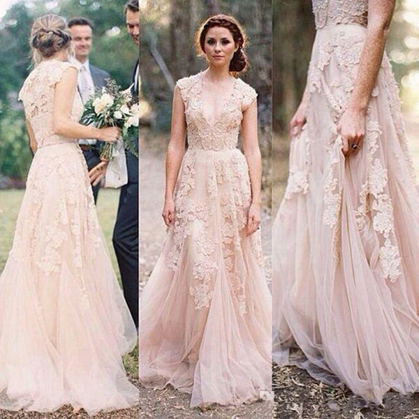 2017 Charming Pink Lace Sexy V-neck Long Sheath Tulle Wedding Party Dresses, WD0139