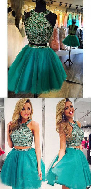 New Arrival turquoise two pieces beaded off shoulder casual homecoming prom dress,BD00143