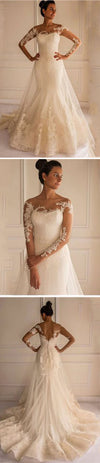 Unique Design Long Sleeve Gorgeous Lace Wedding Dresses, Popular Bridal Gown, WD0154