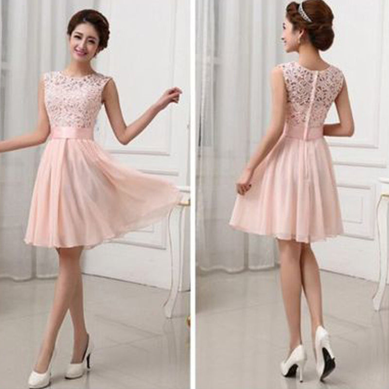 Beautiful Junior Blush Pink Lace Top Small Round Neck Short  Wedding Bridesmaid Dresses, WG154