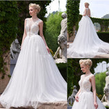 Popular Charming Long A-line V-back Sleeveless White Lace Tulle Wedding Dresses, WD0158