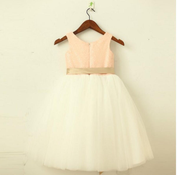Lovely Sequin Top Tulle Pretty Flower Girl Dresses, Weding Little Girl Dresses, FGS016