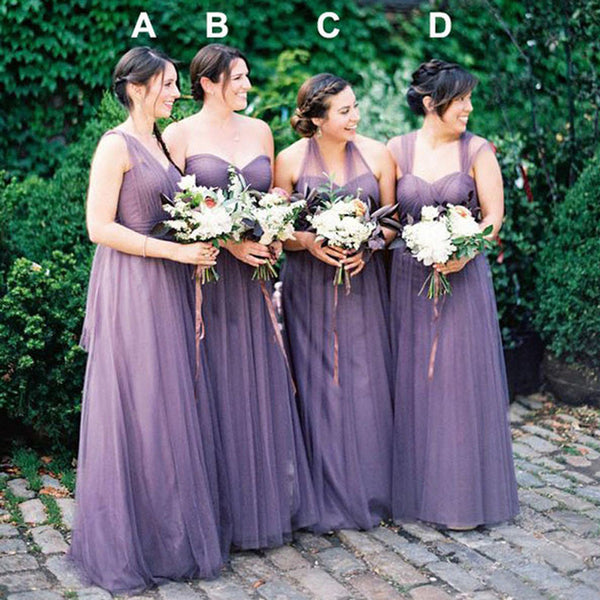 Online Mismatched Tulle Long Wedding Party Dresses Cheap Charming Bridesmaid Dresses, WG167