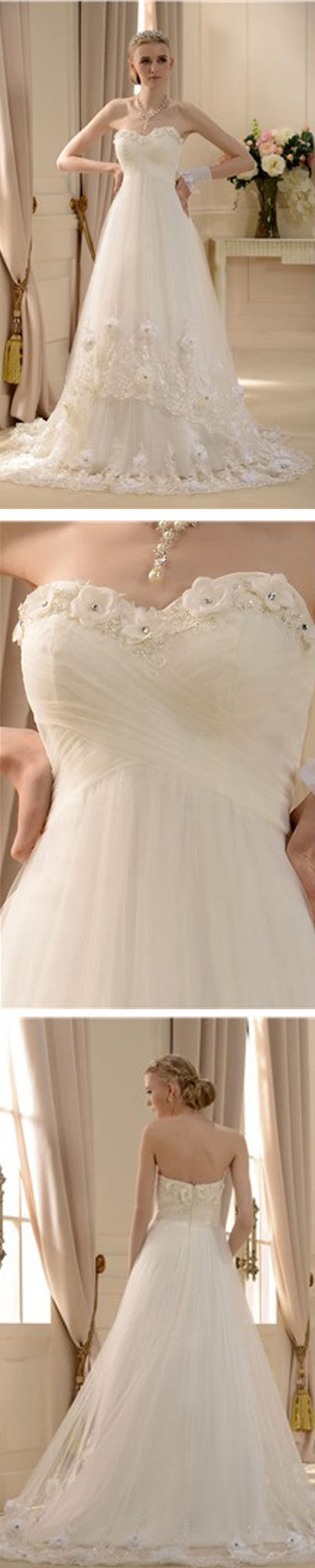 Empire Sweetheart Floor-length A-line Court Lace Trimmed Wedding Dress, WD0174