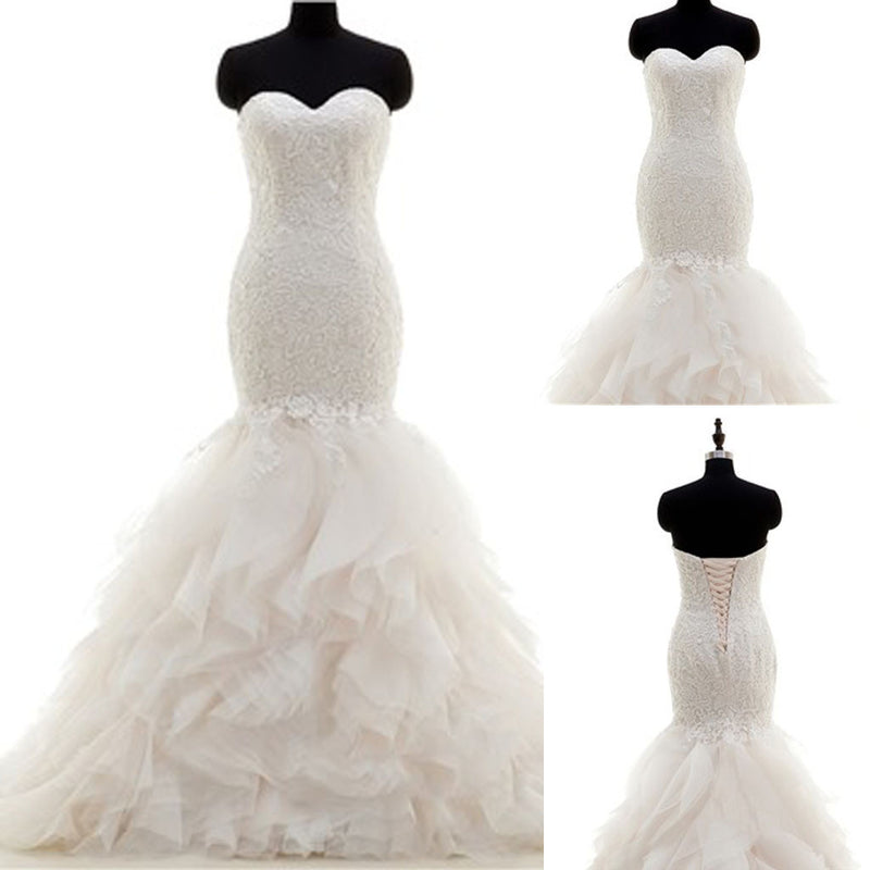 Popular Sweetheart Lace Up Mermaid White Lace Chiffon Wedding Dresses, WD0178