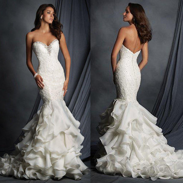 Charming Sweetheart Lace Beaded Sexy Mermaid White Chiffon Wedding Dresses, WD0181