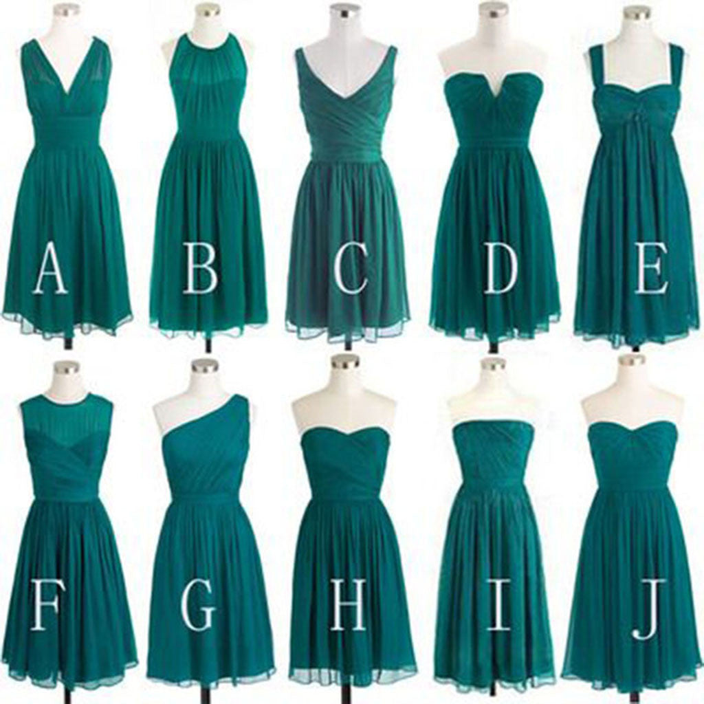 2018 Teal Green Chiffon Mismatched Different Styles Knee Length Cheap Short Bridesmaid Dresses, WG185