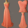 Junior Young Simple Sweet Heart Chiffon Formal Coral  Long Cheap Bridesmaid Dresses, WG186