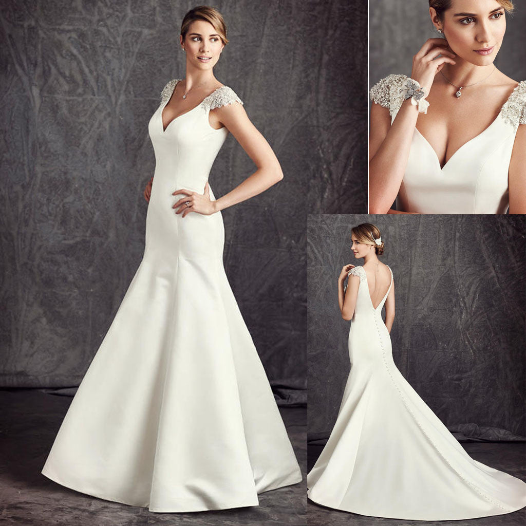 Elegant White Satin Cap Sleeve Rhinestone Wedding Dresses, Sexy V-back Bridal Gown, WD0188