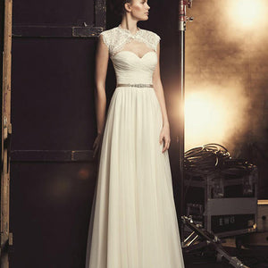 Elegant Long A-line Two Pieces Lace Top Sweetheart White Tulle Wedding Dresses, WD0193