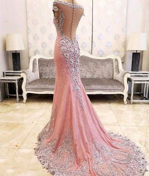 Pink Mermaid Lace Appliques Long Prom Dress with small train, Evening Dress, NDPD0032